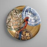 "Stephen Bowers, ""Adelaide Rosella"" camouflage plate, 2014, earthenware, underglaze, clear glaze, on-glaze gold lustre, enamel, 12.2""."