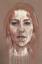 "Cristina Córdova, ""Te veo"" 2016, clay, charcoal, mixed media, acid-free cardboard, 41 x 60""."