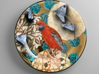 "Stephen Bowers, ""Crimson Rosella"" camouflage plate, 2014, earthenware, underglaze colour, clear glaze, on-glaze burnished gold lustre, 12.2""."