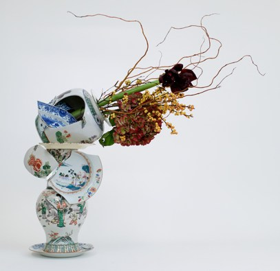 "Bouke de Vries, ""Fragmented Vase 1"" 2015, 18th & 19th century Chinese porcelain and glass, 25.5 x 12.25 x 9""."