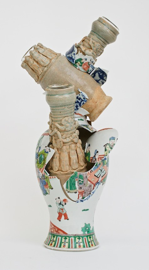 "Bouke de Vries, ""Fragmented Vase 2"", 2 Chinese Song dynasty vases, 18th and 19th century Chinese porcelain and glass. 22.75 x 9.75 x 7.75"""