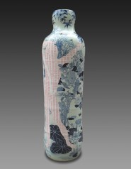 """Sin-ying Ho, """"In the Dream of Hope No. 1"""" 2010, porcelain, cobalt, decals, 69 x 18.5""""."""