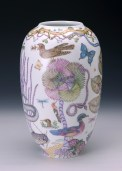 "Robin Best, ""Mark Catesby Marine Vase"" 2015, porcelain, glaze, 15.75 x 10""."