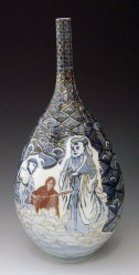 """Sin-ying Ho, """"Confucius, John Lennon and Jesus Christ — Confluence"""" 2008, porcelain, cobalt, decal, luster, 16 x 9""""."""