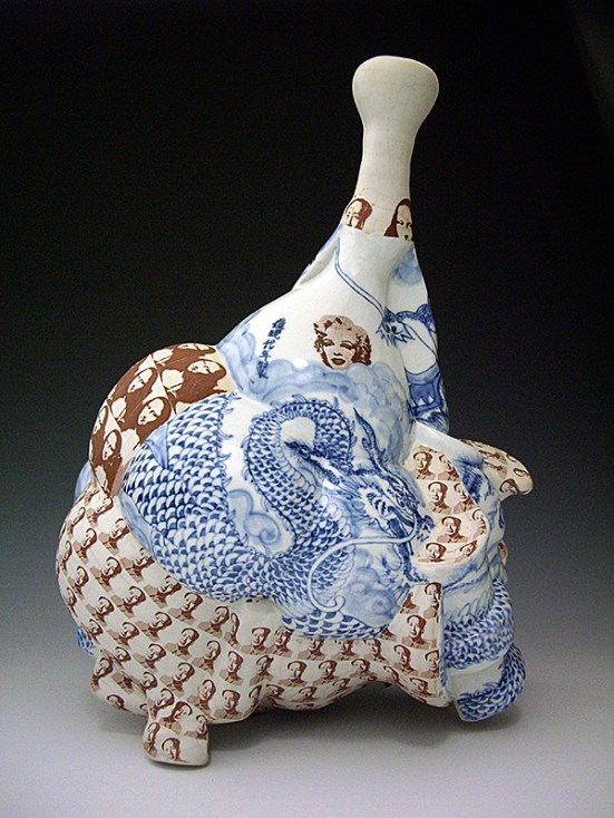 "Sin-ying Ho, ""Made in the Postmodern Era Series No. 1"" 2008, porcelain, cobalt, decal, terra sigillata, 20.5 x 11 x 11""."