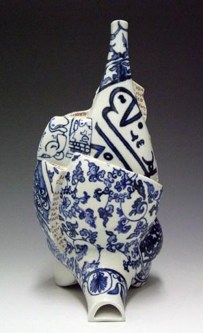 "Sin-ying Ho, ""Matrix no. 2"" 2007, porcelain, cobalt, transfer, terra sigillata, 8 x 4 x 8""."
