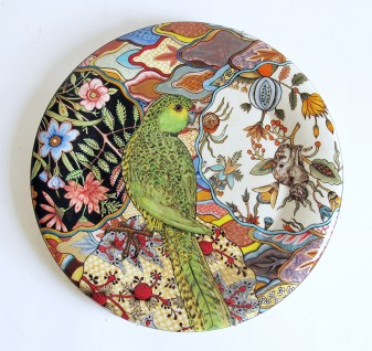 "Stephen Bowers, ""Ground Parrot; Pezoporus Wallicus"" camouflage plate, 2014, earthenware, underglaze, clear glaze, on-glaze gold lustre, enamel, 12.2""."