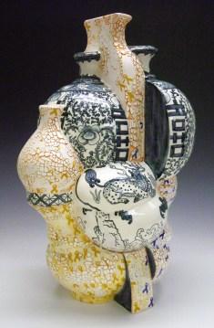 "Sin-ying Ho, ""9.28.2014 Hong Kong"" 2014, porcelain, cobalt, decal, terra sigillata, 23 x 12 x 15.5""."