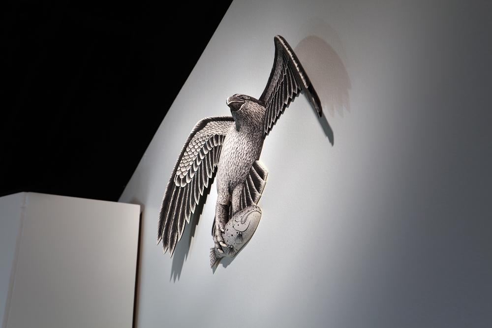 "Jason Walker, ""Cascade"" detail, 2014, porcelain, stoneware, underglaze, china paint, 10'x10'x10'."