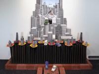 "Jason Walker, ""Down the Road"" installed at Bellevue Arts Museum, 2014, porcelain, underglaze, china paint, 10'x10'x10'."
