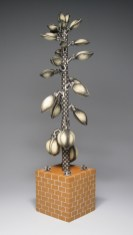 "Jason Walker, ""Mechanized Life: Yucca"" 2007, porcelain, 30 x 7 x 7""."