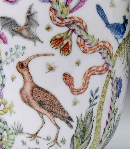 """Robin Best, """"The Florida Vases"""" detail, 2014, porcelain, onglaze 'xin cai' painting, 10.5 x 6.25""""."""