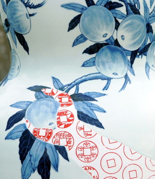 "Sin-ying Ho, ""Temptation - Life of Goods No. 2"" detail, 2010, porcelain, cobalt pigment, underglaze, decal, glaze, 68 x 23.5""."