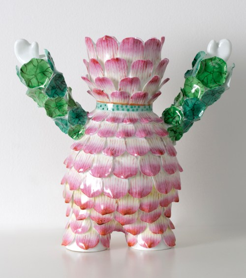 "Vipoo Srivilasa, ""The Patience Flower"" 2014, Jingdezhen super white porcelain, 10 x 6.6""."
