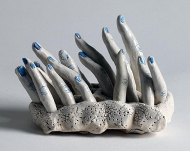"Bonnie Smith, ""Mud'ra"" 2014, porcelain, cobalt, glaze, 7 x 4 x 6""."