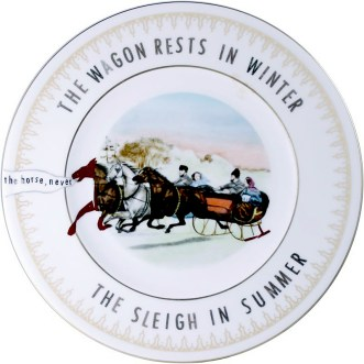 "Garth Johnson, ""Manifest Destiny (Currier and Ives - The Sleigh Race #757)"" 2010, Bing & Grondahl limited edition Currier and Ives porcelain plate, decal, 8""."