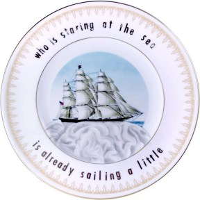 """Garth Johnson, """"Manifest Destiny (Currier and Ives - Clipper Ship """"Flying Cloud #752)"""" 2010, Bing & Grondahl limited edition Currier and Ives porcelain plate, decal, 8""""."""
