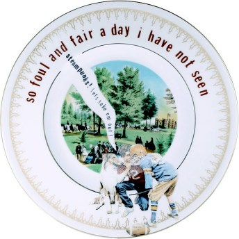 "Garth Johnson, ""Manifest Destiny (Currier and Ives - Central Park, The Drive #761)"" 2010, Bing & Grondahl limited edition Currier and Ives porcelain plate, decal, 8""."