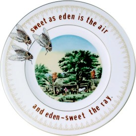 """Garth Johnson, """"Manifest Destiny (Currier and Ives - Autumn in New England #759)"""" 2010, Bing & Grondahl limited edition Currier and Ives porcelain plate, decal, 8""""."""