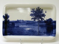 "Paul Scott, Cumbrian Blue(s) American Scenery, New Jersey, 2013-4, print on Portmeirion platter, 13.5 x 9.25 x 1""."