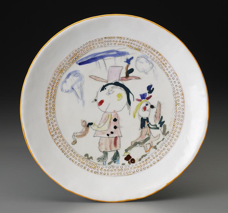 "Roosi Isupov, plate, 2015, porcelain, slip, glaze, 8.5"". photo: John Polak"