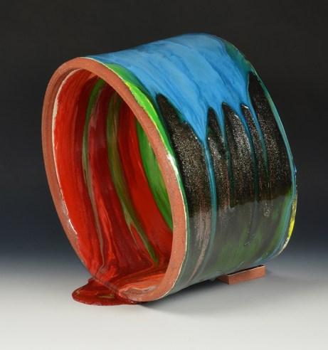 "Lauren Mabry, ""Spilling Pipe"" 2015, red earthenware, slip, glaze, 12 x 14 x 7""."