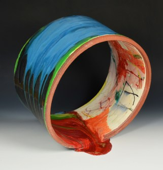 "Lauren Mabry, ""Spilling Pipe"" 2015, red earthenware, slip, glaze, 12 x 14 x 7""."