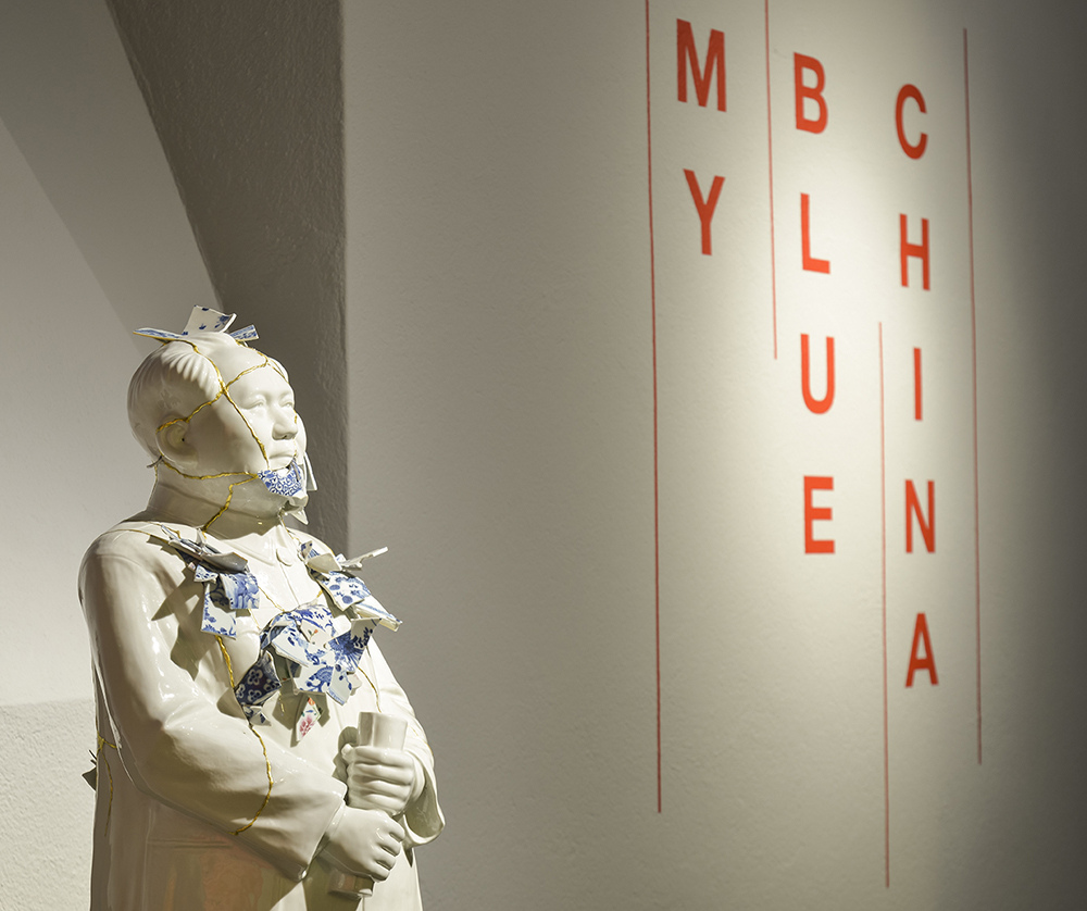 Bernadaud: My Blue China exhibition photo featuring work by Bouke de Vries.