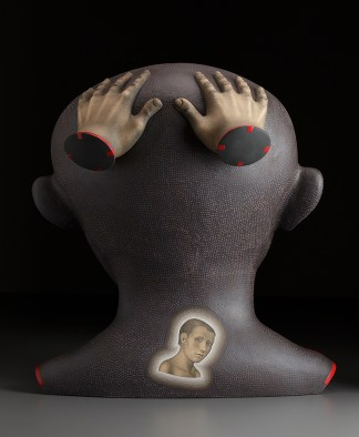 """Sergei Isupov, """"The Boxer"""" back view, 2009, stoneware, stain, glaze, 26.5 x 24 x 17""""."""
