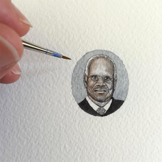 "Brooke Rothshank, ""Clarence Thomas"" 2016, watercolor, paper."