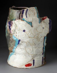 "Rudy Autio, ""Smiling Lady"" 1979, glaze, ceramic, 21.5 x 19 x 13"". photo: John Polak (Pennington)"