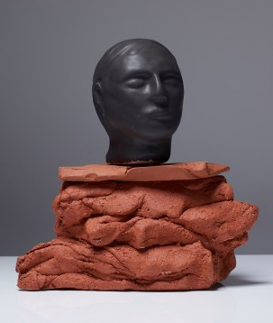 "Christie Brown, ""Black Rock Portrait"" 2015, ceramic, 10 x 9 x 5""."