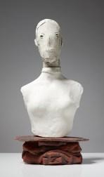 "Christie Brown, ""Ghost Portrait"" 2015, ceramic, 19 x 10 x 9""."