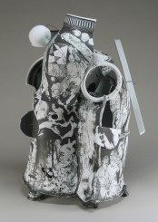 "Edward Eberle, ""White Canyon (0821)"" 2008, porcelain, wire, 21 x 13 x 13"""