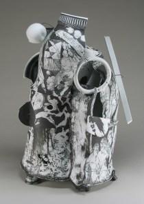 """Edward Eberle, """"White Canyon (0821)"""" 2008, porcelain, wire, 21 x 13 x 13"""""""