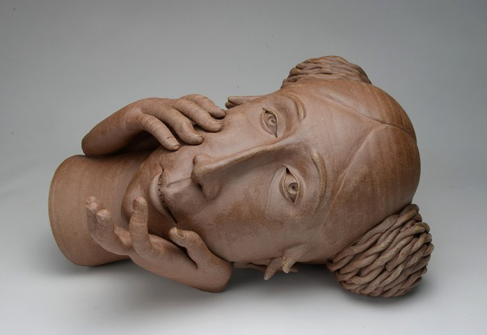 "Gerit Grimm, ""Female Head"" 2015, ceramic, 11 x 18 x 13""."