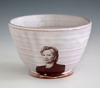 "Justin Rothshank, ""Hillary Clinton Bowl"" 2016, earthenware, glaze, ceramic decals, 3.5 x 6""."
