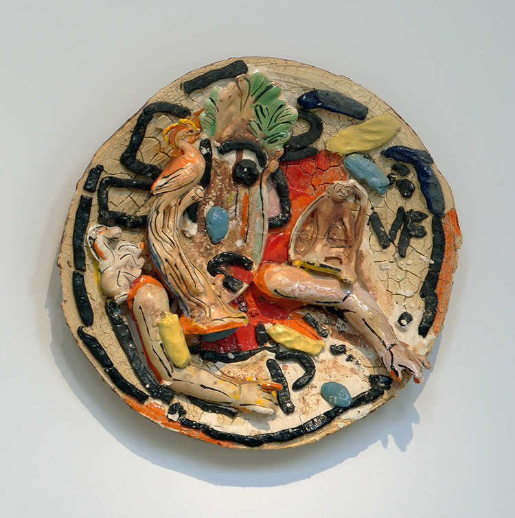 """Viola Frey, """"Untitled"""" (Horse, Bird, Monkey and Arms), 2001 - 2002, ceramic, glaze, 26 x 26 x 6"""". """"Untitled"""" © Artists' Legacy Foundation / Licensed by VAGA, New York. Photographed by Chris Watson"""