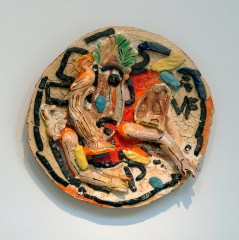 "Viola Frey, ""Untitled"" (Horse, Bird, Monkey and Arms), 2001 - 2002, ceramic, glaze, 26 x 26 x 6"". ""Untitled"" © Artists' Legacy Foundation / Licensed by VAGA, New York. Photographed by Chris Watson"