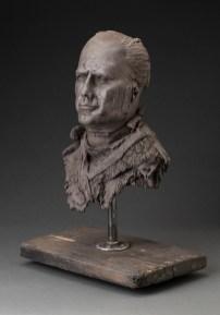 """Doug Jeck, """"Jekyll"""" 2013, ceramic, steel, 22 x 13 x 10""""."""