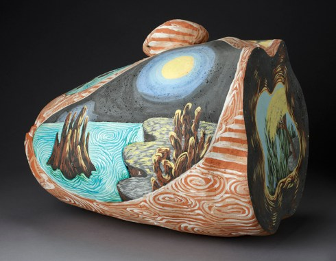 "Michael Lucero, ""North American Dreamer"" 1984, slip-glazed, earthenware, 21 x 25 x 24""."