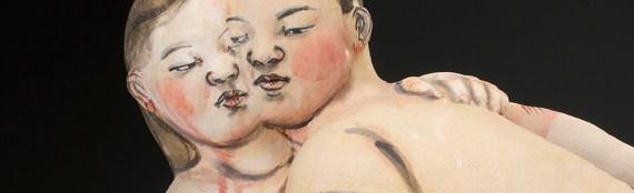 "Akio Takamori, ""Lovers,"" stoneware, 20 x 21 x 7""."