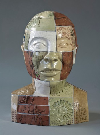 "Stephen Dixon, ""Restoration: Liu Xiaobo"" 2012, glaze, earthenware, decals, 25.5 x 18.5""."