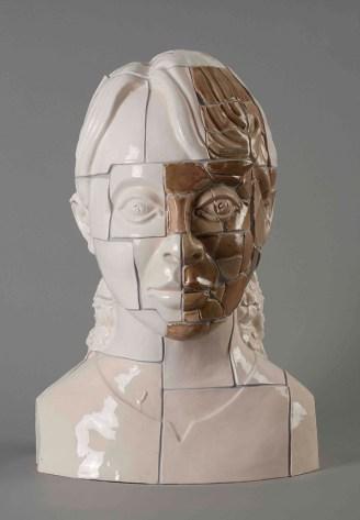 "Stephen Dixon, ""Restoration: Aung San Suu Kyi"" 2011, glaze, earthenware, decals, 23.25 x 16""."