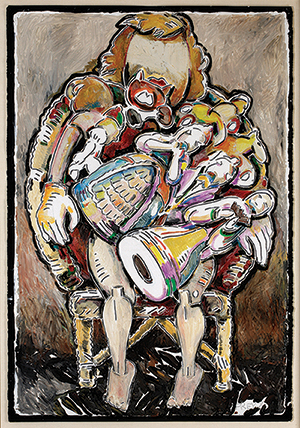"""Viola Frey """"Lap Full of Figurines (Self Portrait)"""" 1981, oil and acrylic paint, paper, 60 x 40"""" framed."""