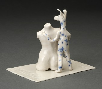 "Coille McLaughlin Hooven, ""The Object Lesson"" 1991, porcelain, 3.75 x 4 x 3.5""."