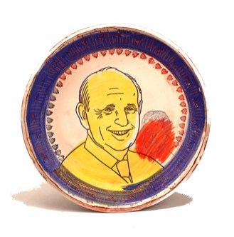"Brooke and Justin Rothshank, ""Stephen Breyer"" 2016, earthenware, decal, glaze, 16""."