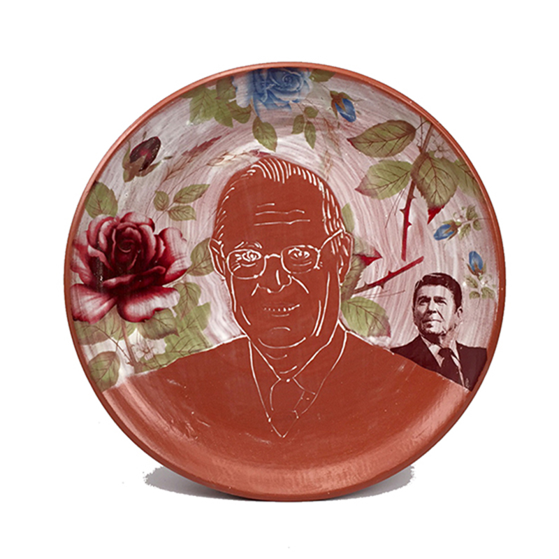 "Brooke and Justin Rothshank, ""Anthony Kenedy"" 2016, earthenware, decal, glaze, 16""."