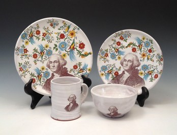 "Justin Rothshank, ""George Washington"" 2016, earthenware, decal, glaze."