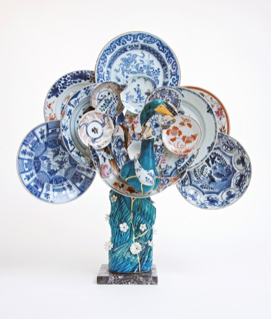 "Bouke de Vries, ""Peacock 1"" 2016, twentieth-century Chinese porcelain bird, eighteenth-century Chinese porcelain fragments, mixed media, 24 x 13.5 x 25""."
